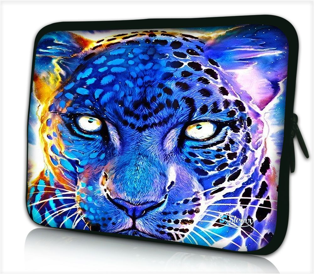 Laptophoes 17,3 inch panter blauw paars design - Sleevy