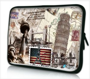 laptophoes 10,1 inch wereld monumenten sleevy