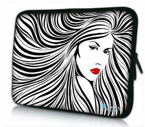 Laptophoes 11 inch artistieke vrouw zwart wit Sleevy