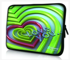 Sleevy 11,6 inch laptophoes macbookhoes groene hartjes love you