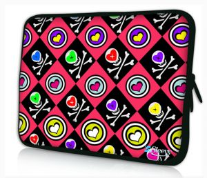 Sleevy 13,3 inch laptophoes macbookhoes hartjes doodskopjes