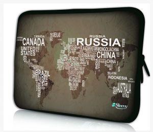 laptophoes 13.3 inch wereldkaart & namen Sleevy