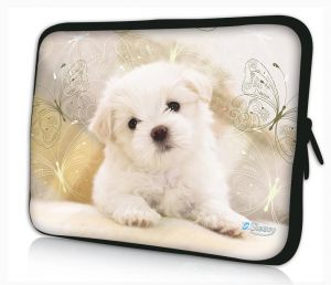laptophoes 13.3 inch witte puppy Sleevy