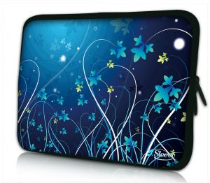 laptophoes 14 inch blauwe bloemen Sleevy