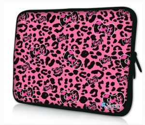 laptophoes 14 inch roze panterprint sleevy