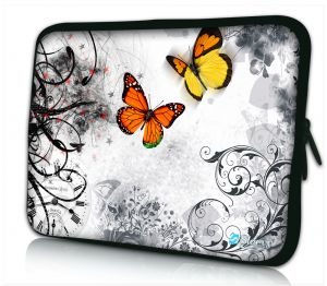 laptophoes 14 inch oranje vlinders Sleevy