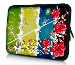 laptophoes 14 inch rode bloemen Sleevy