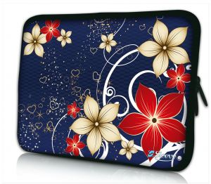 Sleevy 15,6 inch laptophoes rode beige bloemen