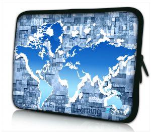 laptophoes 17 inch blauwe wereldkaart Sleevy