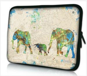 Laptophoes 17,3 inch wereldkaart olifanten - Sleevy