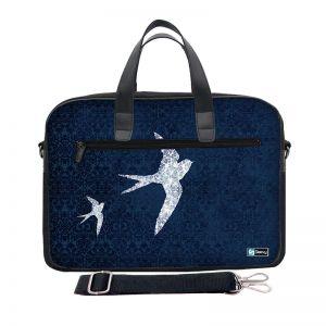 Laptoptas 15,6 inch / schoudertas blauw patroon en vogels - Sleevy