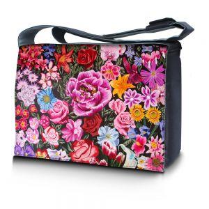 Sleevy 15,6 inch laptoptas bloemen print