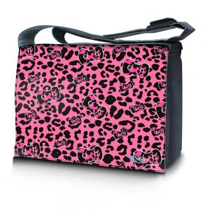 Sleevy 15,6 inch laptoptas roze panterprint