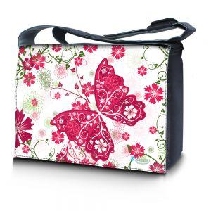 Sleevy 15,6 inch laptoptas roze vlinder