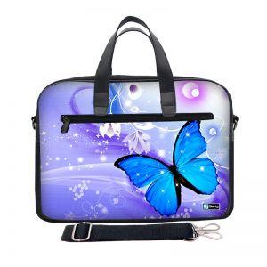Laptoptas 17,3 inch / schoudertas blauwe vlinder - Sleevy