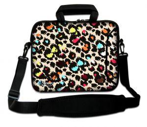 Sleevy 17.3 inch laptoptas gekleurde panterprint