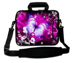 Sleevy 17.3 inch laptoptas grote paarse vlinder