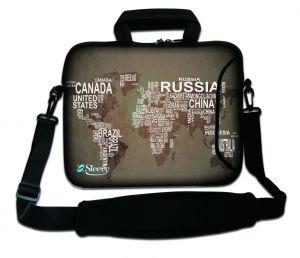Sleevy 17.3 inch laptoptas wereldkaart en namen