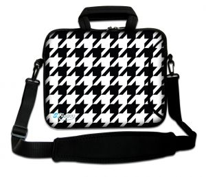 Sleevy 17.3 inch laptoptas wit zwart patroon