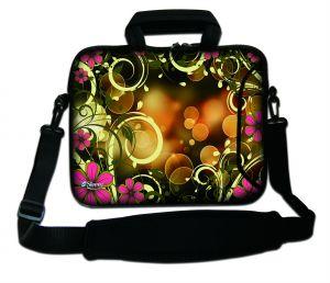 Sleevy 17.3 inch laptoptas artistiek en roze bloemen