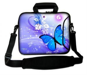 Sleevy 17,3 inch laptoptas blauwe vlinder