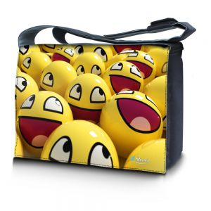 Sleevy 17,3 inch laptoptas gele smileys