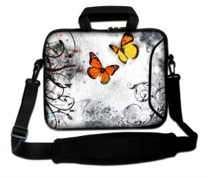 Sleevy 17.3 inch laptoptas oranje vlinders