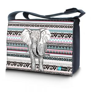 Messengertas / laptoptas 15,6 inch olifant en patroon - Sleevy