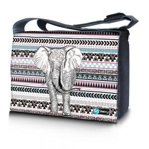 Messengertas / laptoptas 17,3 inch olifant en patroon - Sleevy