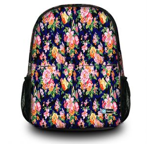 rugzak oranje/roze bloemetjes - Sleevy