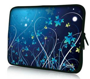 "Sleevy 17"" laptophoes blauwe bloemen"